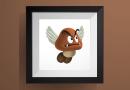 パタクリボーの色々なポーズ【マリオワールド】のアイロンビーズ図案 Paragoomba