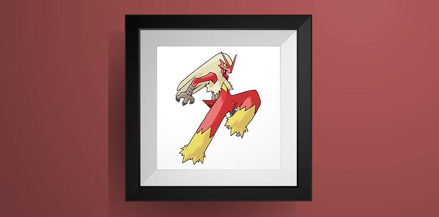 【ポケモン】バシャーモのアイロンビーズ図案・ドット絵!blaziken